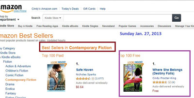 Number 1, Contemporary Fiction, Kindle Free store.