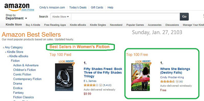 January 27th, 2013, Number 1 in Women's Fiction, Kindle Free Store