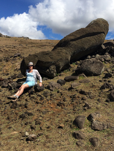 One of several fallen/pushed over Moai we encountered during our explorations. I am pretty much sitting as close to the statue as I can without touching it (a no-no). Just to give an idea of the size of these things.