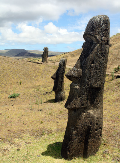 Some of these statues have bodies that extend way, way into the ground. There is some argument whether all the Moai were intended to be moved from the quarry. There is a spot you can see a monster head lying horizontal half-carved from rock. Pictures don't do the quarry justice.