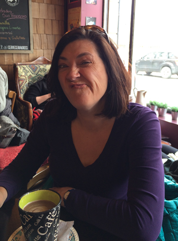 Olive Di Oyl enjoying cheesecake and hot chocolate (or latte, can no longer remember) in Punta Arenas before the cruise.