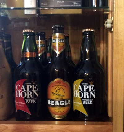 """Beagle Beer"" spotted in the Mysten Kepen. We didn't have time for a brewski, so just took a photo. Also, look, Cape Horn beer!"