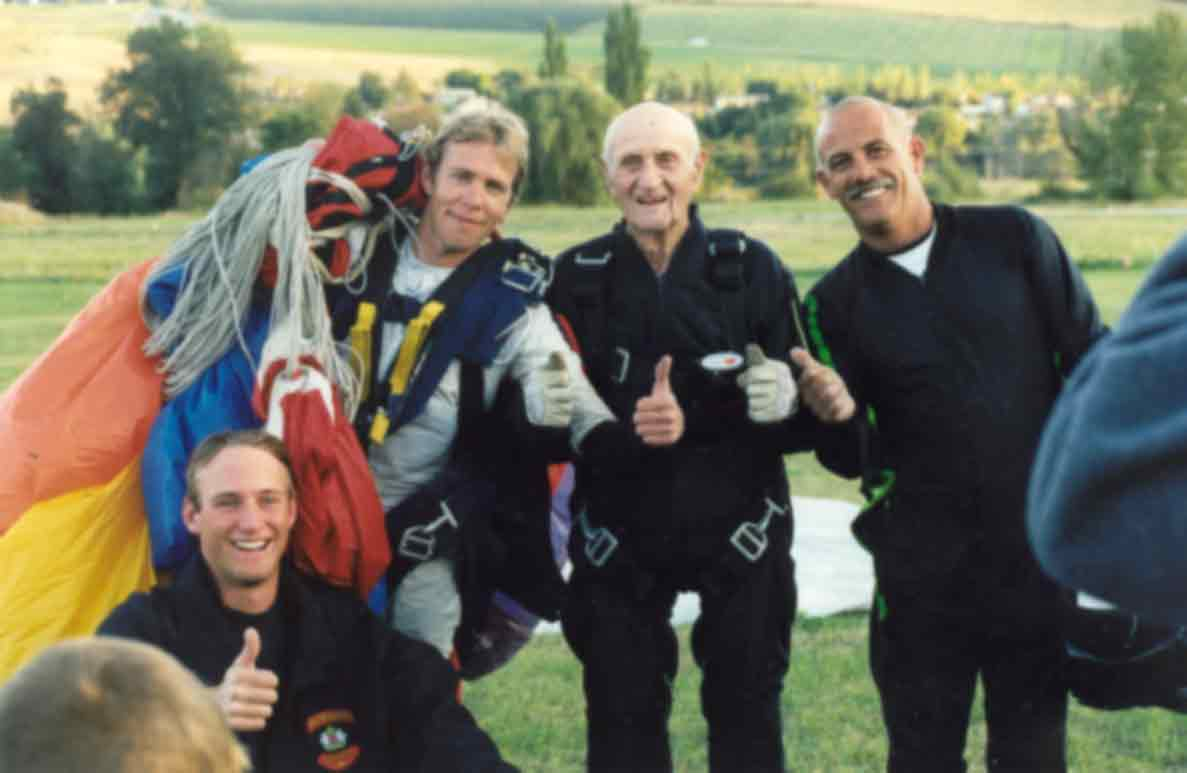 Duke Procter following skydive at 100 years and 40 days old