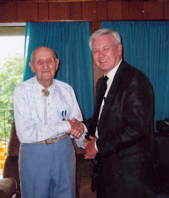 Duke Procter Receiving The Queen's Jubilee Medal, age 104