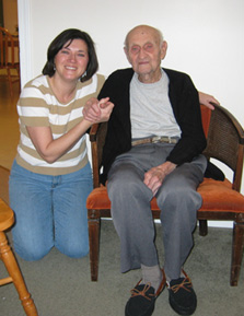 Cindy with her grandfather, Duke Procter, Christmas 2004